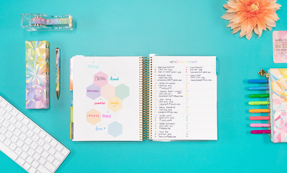 organization tips - make a list in your planner of important contacts in your network