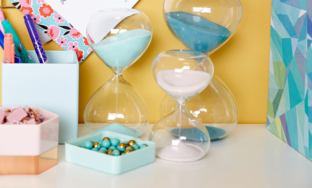 use an hourglass as a stress-free way to set aside time for self-care